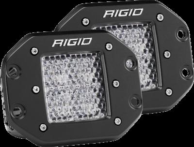 Rigid Industries - Diffused Flush Mount Black Pair D-Series Pro RIGID Industries