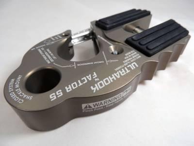 Factory 55 - UltraHook Winch Hook W/Shackle Mount Gray Factor 55