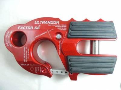 Factory 55 - UltraHook Winch Hook W/Shackle Mount Red Factor 55
