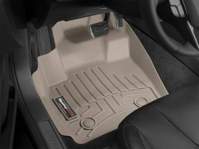 WeatherTech - 10-15 Ford F250/F350 SUPER DUTY SUPERCREW/EXT OVER THE HUMP W/O FLOOR MOUNTED SHIFTER - WeatherTech Tan FRONT FLOORLINER