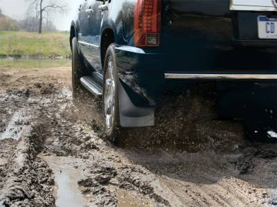 Exterior Accessories - Mud Flap - WeatherTech - 11-15 Ford F250/F350/F450/F550 Fits Vehicle w/o OE  Flares Molding No Drill - WeatherTech Mudflaps Black