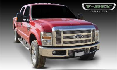 T-Rex Grilles - 08-10 FORD F250/F350 Super Duty   T-Rex Polished Billet Series Grille, 6 Pc, Overlay