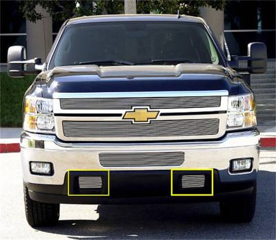 T-Rex Grilles - 11-14 SILVERADO 2500/3500 T-Rex Polished Billet Series Bumper Grille, 2 Pc, Bolt-On, Tow Hook