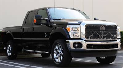 Exterior Accessories - Grille - T-Rex Grilles - 08-10 FORD Super Duty (All Models) T-Rex Black Urban Assault Grille, 3 Pc, Insert, Chrome Studs
