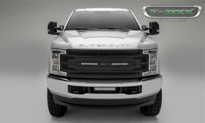 Exterior Accessories - Grille - T-Rex Grilles - 17-19 FORD F250/F350 Super Duty T-Rex Black  ZROADZ Series LED Light Grille, 1 Pc, Replacement (does not fit vehciels with camera)