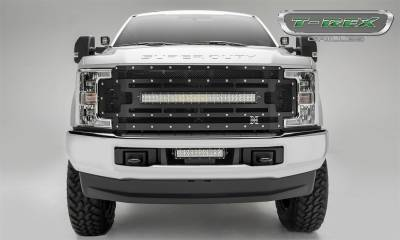"Exterior Accessories - Grille - T-Rex Grilles - 17-19 FORD F250/F350  T-Rex Torch Series Light Grille, Black, 1 Pc, Replacement, Chrome Studs with (1) 30"" KED (does not fit vehicles with Camera)"