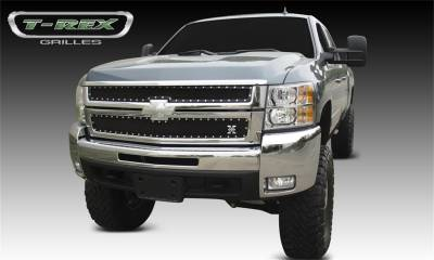 T-Rex Grilles - 07-10 SILVERADO 2500/3500HD T-Rex Black  X-Metal Series Grille, 2 Pc, Overlay, Chrome Studs