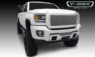 Exterior Accessories - Grille - T-Rex Grilles - 2015-2019 SIERRA 2500/3500 T-Rex Polished X-Metal Series Formed Mesh Grille, 1 Pc, Insert, Chrome Studs