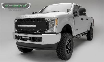 "Exterior Accessories - Grille - T-Rex Grilles - 17-19 FORD F250/F350  T-Rex Torch Al Series Grille Black Torch Series Grille, Black Mesh and Trim, 1 Pc, Chrome Studs with (1) 30"" LED (does not fit vehicles with Camera)"