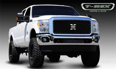 T-Rex Grilles - 11-16 FORD F250/F350 Super Duty T-Rex Black X-Metals Series Studded Mesh Grille , 1 Pc, Insert, Chrome Studs