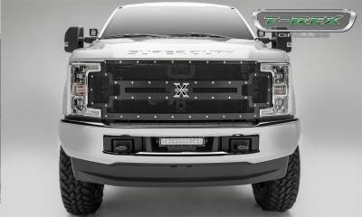 Exterior Accessories - Grille - T-Rex Grilles - 17-19 FORD  F250/F350  Super Duty  T-Rex Black  X-Metal Series Studded Mesh Grille, 1 Pc, Replacement, Chrome Studs (does not fit vehicle with camera)