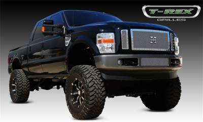 T-Rex Grilles - 08-10 FORD Super Duty (Except Harley Davidson)  T-Rex Polished X-Metal Series Studded Mesh Grille, 3 Pc, Insert, Chrome Studs