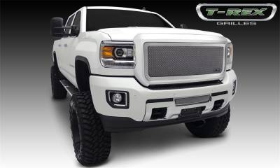 Exterior Accessories - Grille - T-Rex Grilles - 2015-2019 SIERRA 2500/3500 T-Rex Polished Upper Class Series Mesh Grille, 1 Pc, Overlay