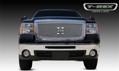T-Rex Grilles - 07-10 SIERRA 2500/3500 HD  T-Rex Polished  X-Metal Grille, 1 Pc, Insert, Chrome Studs