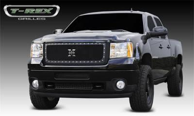Exterior Accessories - Grille - T-Rex Grilles - 11-14 SIERRA 2500 /3500 HD T-Rex Black X-Metal Grille, 1 Pc, Insert, Chrome Studs