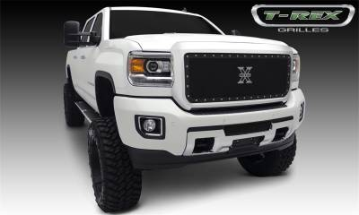 Exterior Accessories - Grille - T-Rex Grilles - 2015-2019 SIERRA 2500/3500 HD  T-Rex Black X Metal Grille, 1 Pc, Insert, Chrome Studs