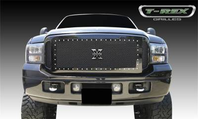 T-Rex Grilles - 05-07 FORD F250/F350 Super Duty  T-Rex Black X-Metal Series Studded Mesh Grille, 3 Pc, Insert, Chrome Studs