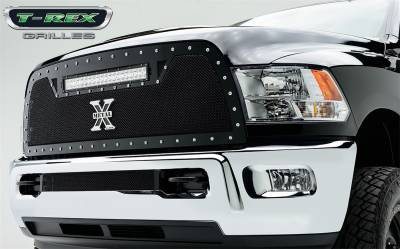 "T-Rex Grilles - 13-18 RAM 2500/3500  T-Rex Black Torch Series LED Light Grille, 1 PC, Chrome Studs with with (1) 30"" LED"