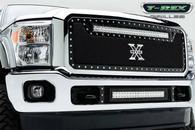 "Exterior Accessories - Grille - T-Rex Grilles - 11-16 Ford F250/F350  T-Rex Black Torch Series LED Light Grille, 1 Pc, Insert, Chrome Studs with (1) 30"" LED"