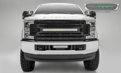 "Exterior Accessories - Grille - T-Rex Grilles - 17-19 FORD F250/F350  T-Rex Black Steath Torch Series LED Light Grille, 1 Pc, Replacement, Black Studs with (1) 30"" LED, (Does NOT fit vehicles with camera)"
