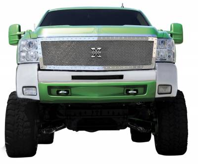 T-Rex Grilles - 07-10 SILVERADO 2500/3500HD T-Rex Polished X-Metal Grille, 1 PC, Replacement, Chrome Studs