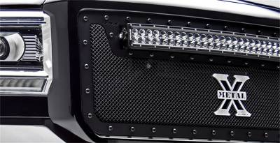 "Exterior Accessories - Grille - T-Rex Grilles - 2015-2019 Silverado 2500HD and 2015-2017 3500HD T-Rex Black Stealth Torch Series LED Light Grille, (2) 12"" LED Bar, 2 Pc Grille, Black Studs"