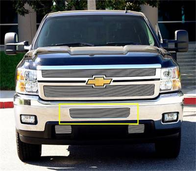 T-Rex Grilles - 11-14 SILVERADO 2500/3500  T-Rex Polished Billet Bumper Grille, 2 Pc, Bolt On, Top Bumper Opening