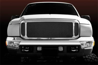 Exterior Accessories - Grille - T-Rex Grilles - 99-04 FORD Super Duty  T-Rex Black Upper Class Series Mesh Grille, 1 Pc, Insert