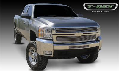 T-Rex Grilles - 07-10 SILVERVADO 2500/3500HD  T-Rex Polsihed Billet Series Grille, 2 Pc, Overlay