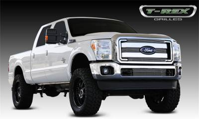 T-Rex Grilles - 11-16 FORD F250/F350 Super Duty  T-Rex Polished Billet Series Grille, 4 Pc, Overlay