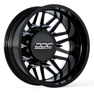 DDC Wheels - 94-18 RAM 92-10 GM Aftermath Black/Milled 20X8.25 8X165 121.3 12.50 TireDually Wheel Kit