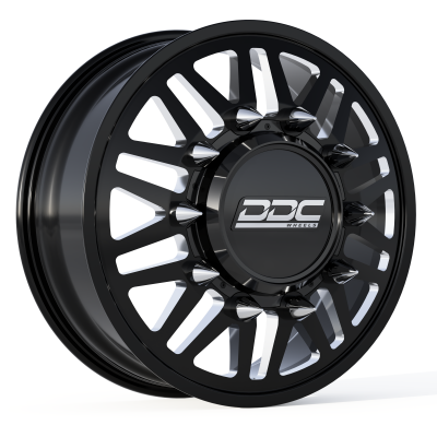 DDC Wheels - 94-18 RAM 92-10 GM Aftermath Black/Milled 22X8.25 8X165 121.3 12.50 Tire Dually Wheel Kit