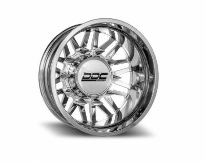 DDC Wheels - 94-18 RAM 92-10 GM Aftermath Polished 22X8.25 8X165 121.3 13.50 TireDually Wheel Kit