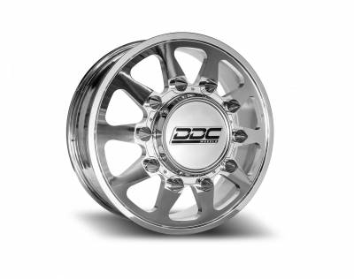 DDC Wheels - 94-18 RAM 92-10 GM The Ten Polished 20X8.25 8X165 121.3 12.50 TireDually Wheel Kit