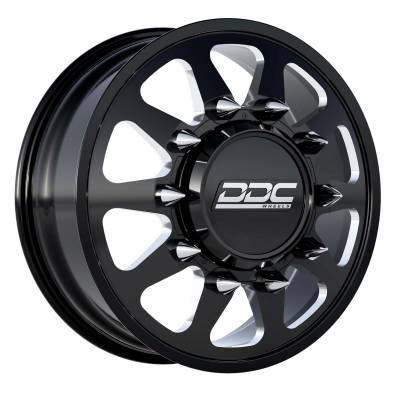 DDC Wheels - 94-18 RAM 92-10 GM The Ten Black/Milled 22X8.25 8X165 121.3 12.50 TireDually Wheel Kit