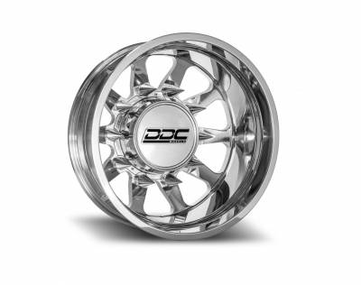 DDC Wheels - 94-18 RAM 92-10 GM The Ten Polished 22X8.25 8X165 121.3 13.50 TireDually Wheel Kit