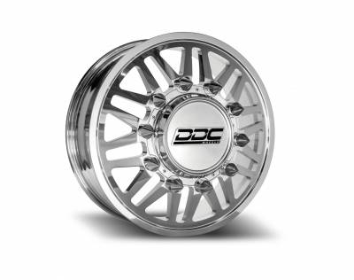 DDC Wheels - Super Duty/RAM Dually Wheel Kit F-450 05-10 F-450 15-20 Ram 4500 08-20 Aftermath Polished 22X8.25 10X225 170.1Cb 12.50 Tire