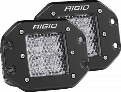 Auxiliary Lighting - LED Light Pods - Rigid Industries - Diffused Flush Mount Black Pair D-Series Pro RIGID Industries