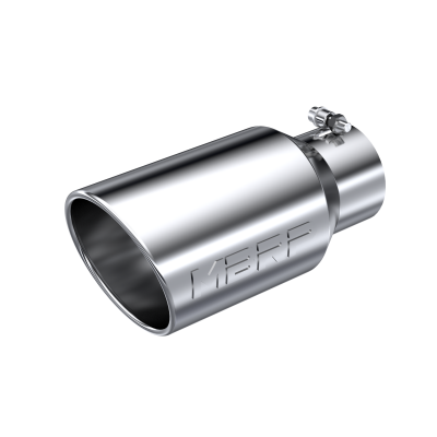 Exhaust Tail Pipe Tip 6 Inch O.D. Angled Rolled End 4 Inch Inlet 12 Inch Length T304 Stainless Steel MBRP