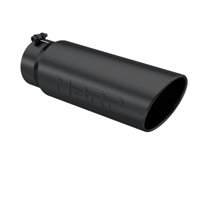 Exhaust Tip 6 Inch O.D. Angled Rolled End 5 Inch Inlet 18 Inch Length Black Finish MBRP