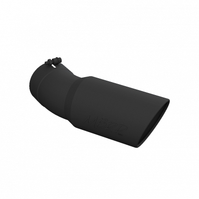 Exhaust Tip - 5 Inch Inlet - MBRP Exhaust - Exhaust Tip 6 Inch O.D. Angled Rolled End 5 Inch Inlet 15 1/2 Inch Length 30 Degree Bend Black MBRP