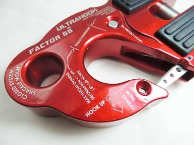 Factory 55 - UltraHook Winch Hook W/Shackle Mount Red Factor 55 - Image 2