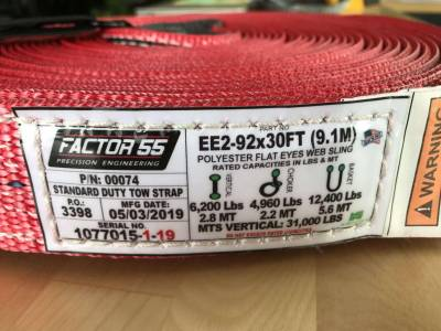 Factory 55 - 30 Foot Tow Strap Standard Duty 30 Foot x 2 Inch Red Factor 55 - Image 2