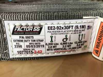 Factory 55 - 30 Foot Tow Strap Extreme Duty 30 Foot x 2 Inch Gray Factor 55 - Image 4